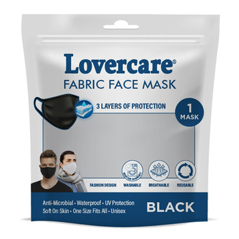 Lovercare Fabric Face Mask ADULT Black 1pc 3ply